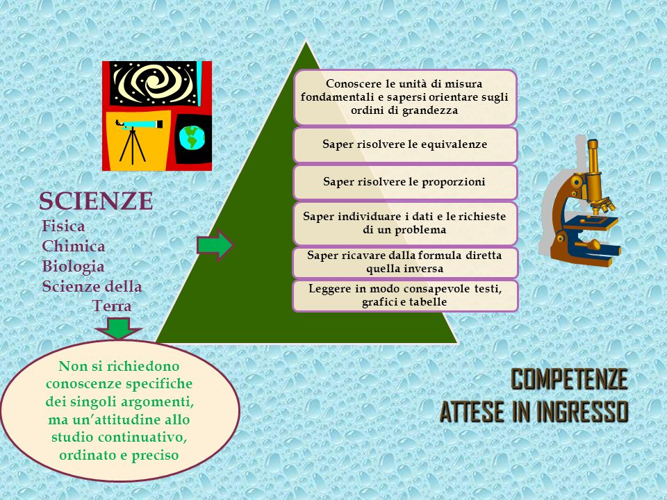 COMPETENZE ATTESE IN INGRESSO