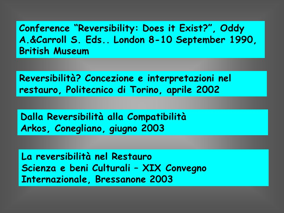 Conference Reversibility: Does it Exist. , Oddy A. &Carroll S. Eds