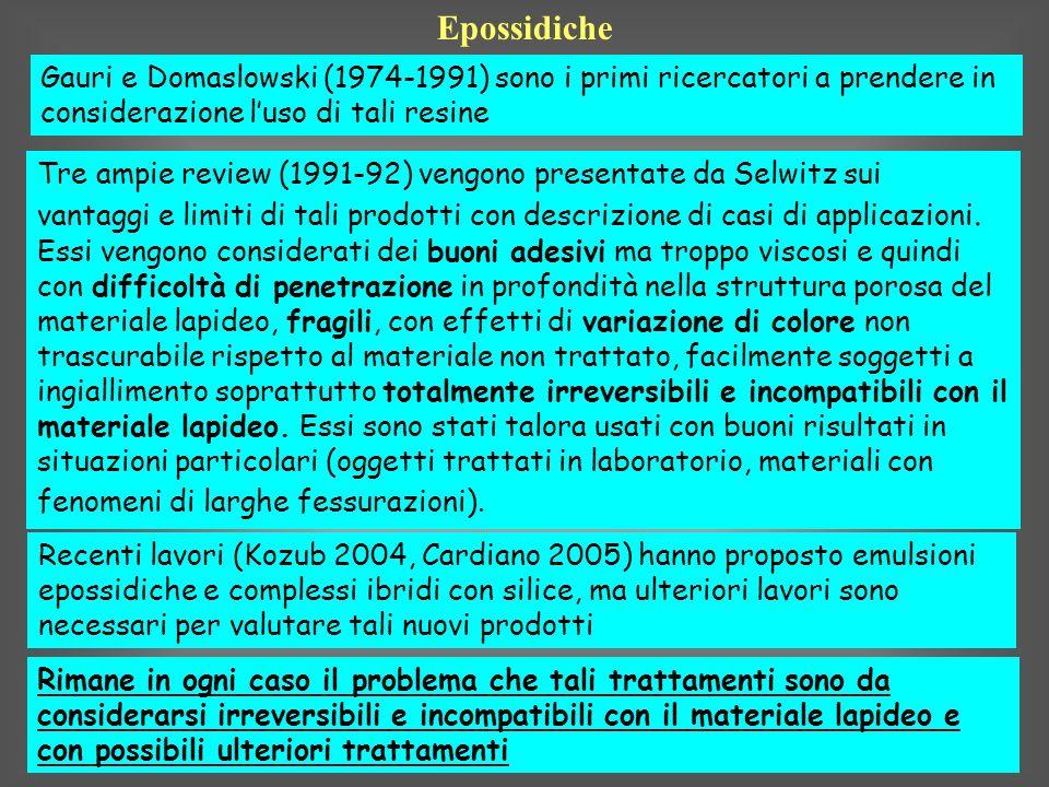 EpossidicheGauri e Domaslowski (1974-1991) sono i primi ricercatori a prendere in considerazione l'uso di tali resine.