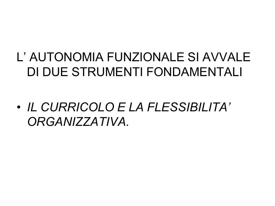 L' AUTONOMIA FUNZIONALE SI AVVALE DI DUE STRUMENTI FONDAMENTALI