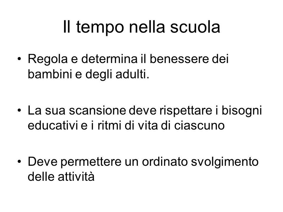 Il tempo nella scuola Regola e determina il benessere dei bambini e degli adulti.