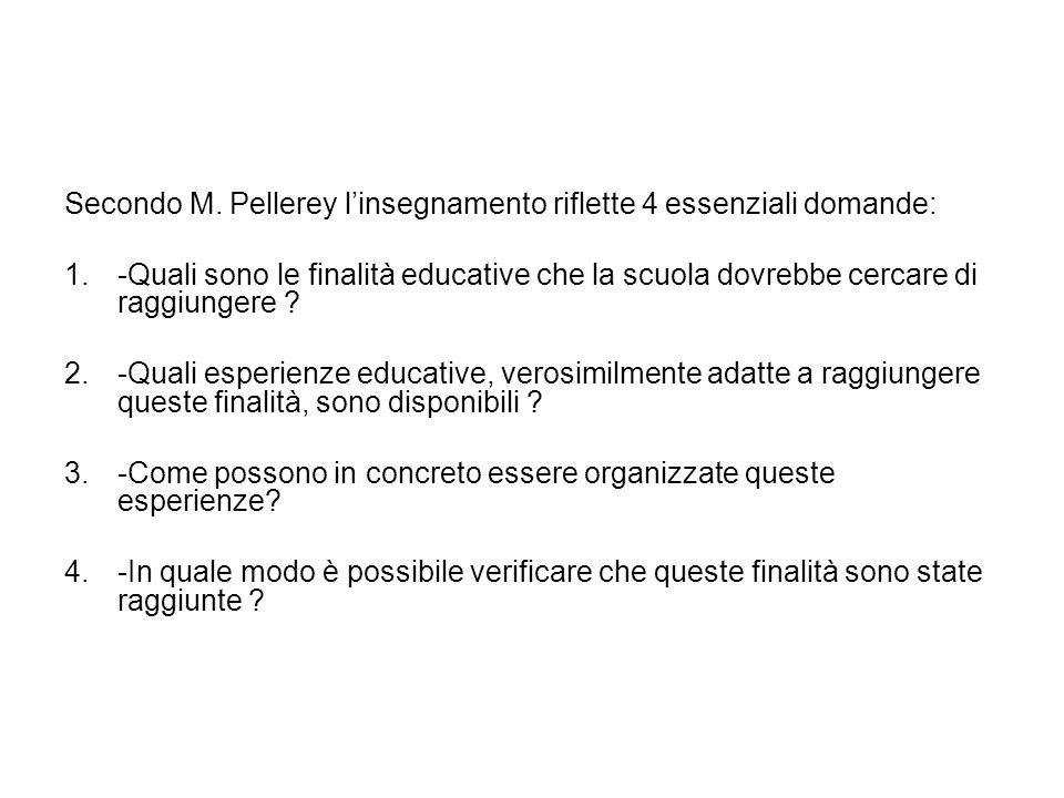 Secondo M. Pellerey l'insegnamento riflette 4 essenziali domande: