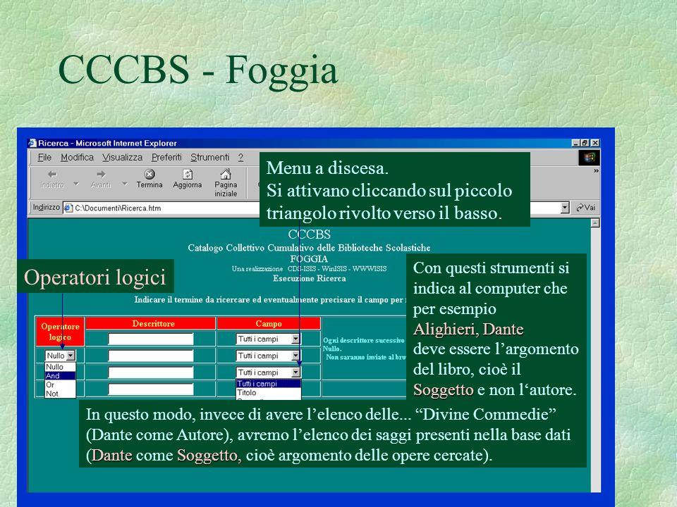 CCCBS - Foggia Operatori logici