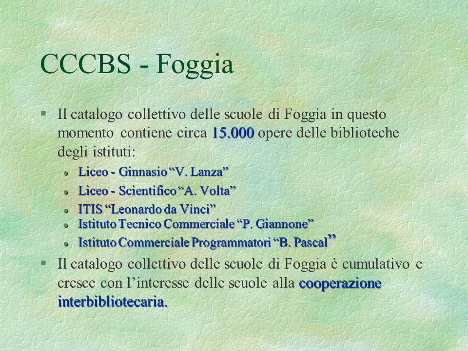 CCCBS - FoggiaIl catalogo collettivo delle scuole di Foggia in questo momento contiene circa 15.000 opere delle biblioteche degli istituti: