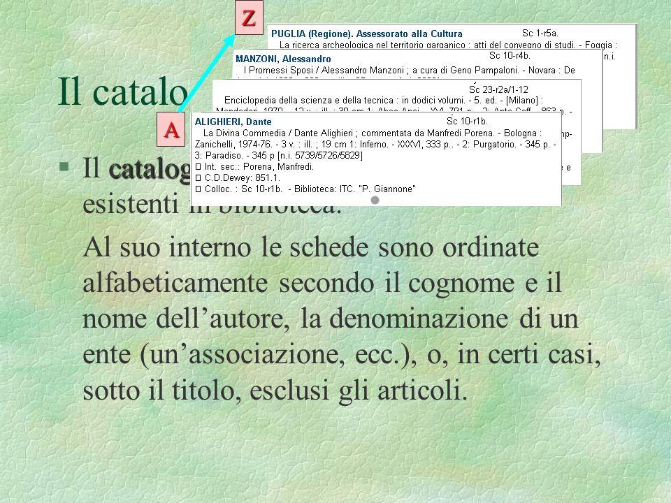 ZIl catalogo per autori. A. Il catalogo per autori elenca tutte le opere esistenti in biblioteca.