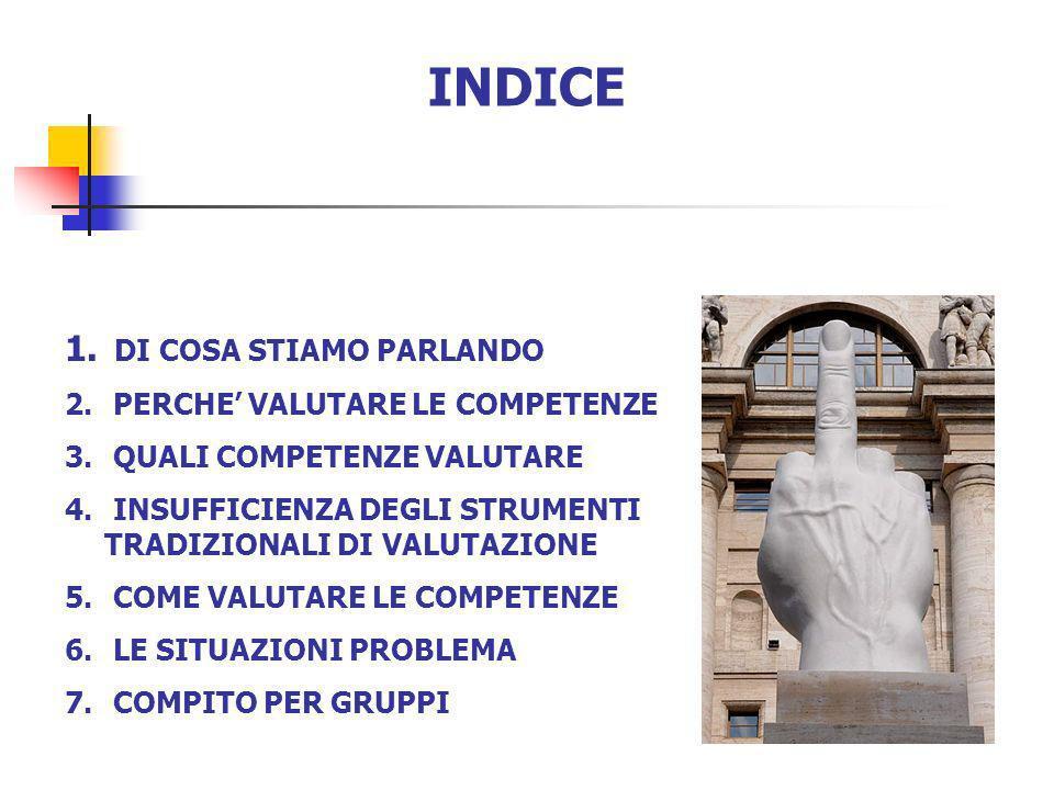 INDICE DI COSA STIAMO PARLANDO PERCHE' VALUTARE LE COMPETENZE