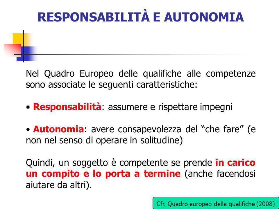 RESPONSABILITÀ E AUTONOMIA