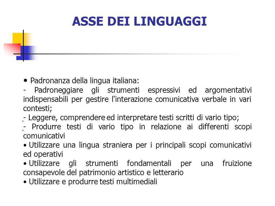 ASSE DEI LINGUAGGI Padronanza della lingua italiana: