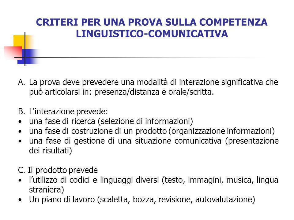 CRITERI PER UNA PROVA SULLA COMPETENZA LINGUISTICO-COMUNICATIVA