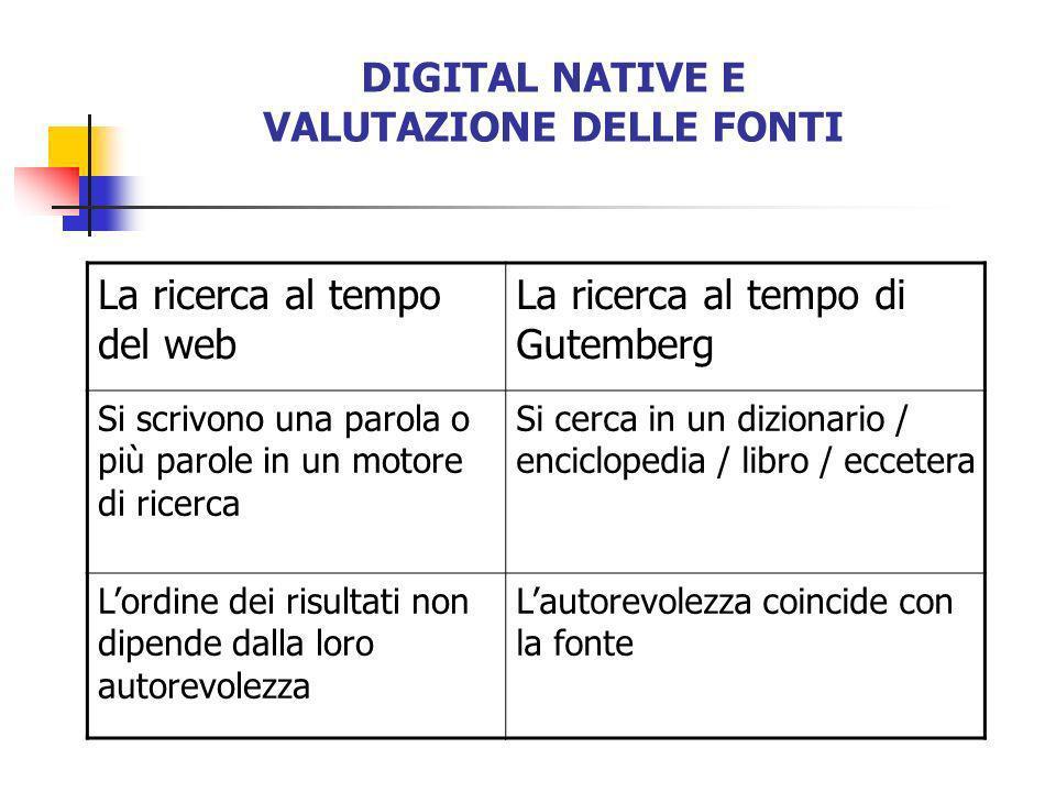 DIGITAL NATIVE E VALUTAZIONE DELLE FONTI