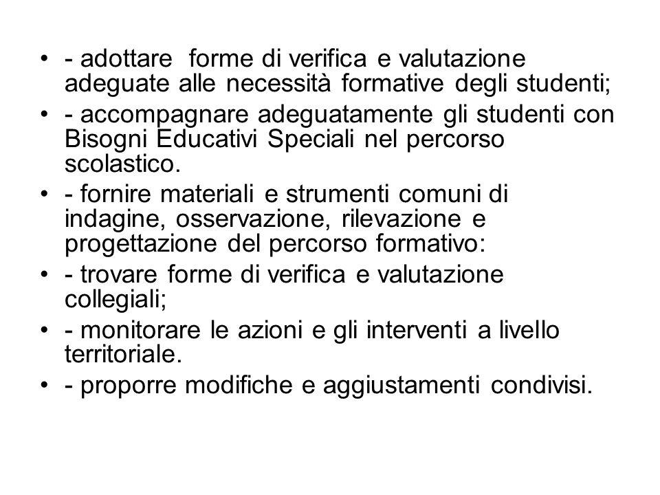 - adottare forme di verifica e valutazione adeguate alle necessità formative degli studenti;