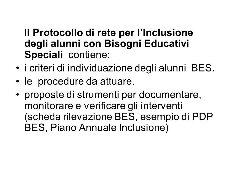 Il Protocollo di rete per l'Inclusione degli alunni con Bisogni Educativi Speciali contiene: