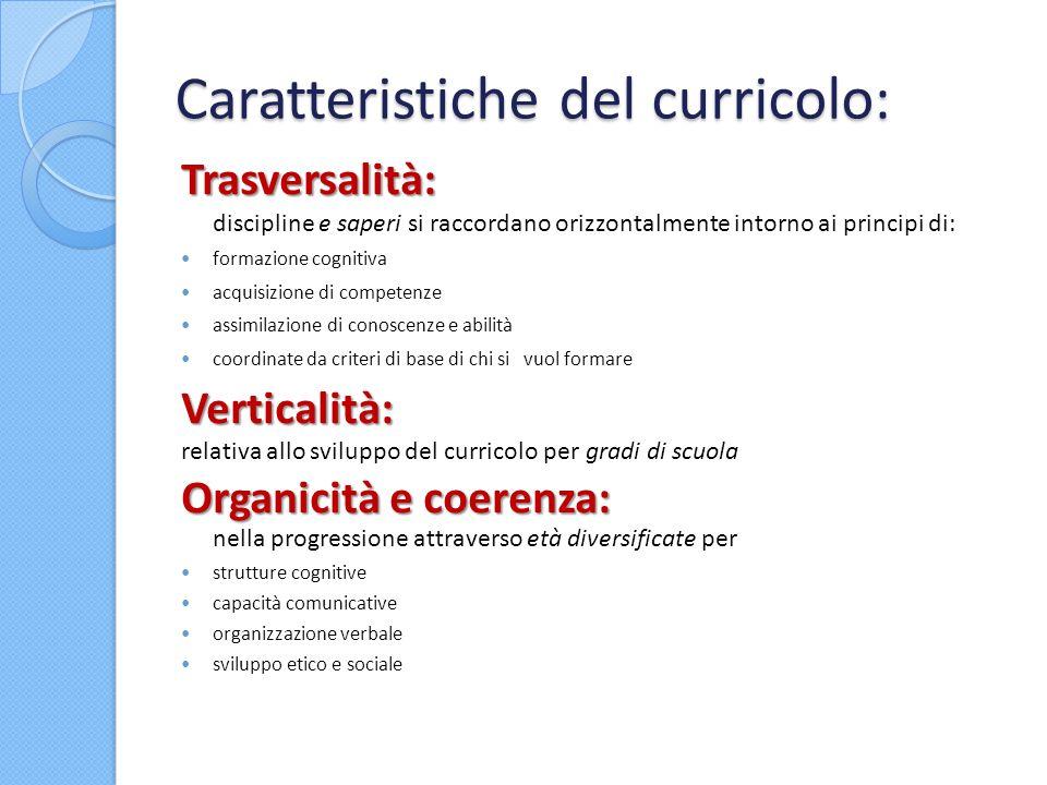 Caratteristiche del curricolo: