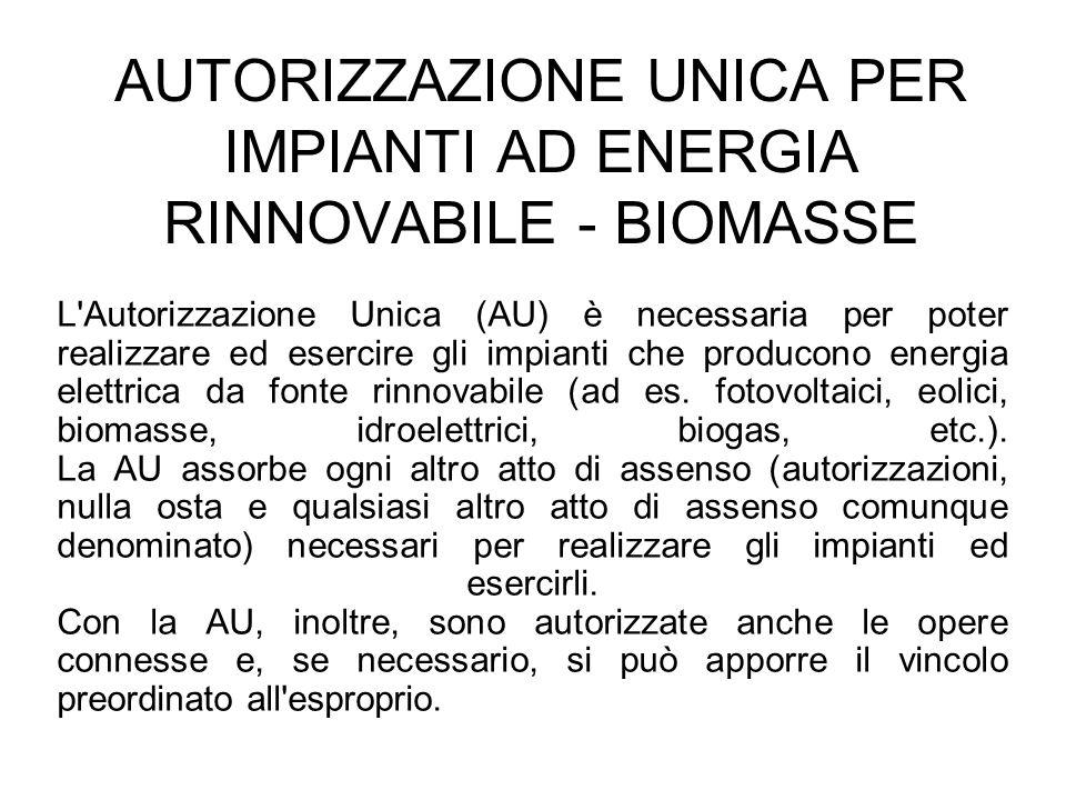 AUTORIZZAZIONE UNICA PER IMPIANTI AD ENERGIA RINNOVABILE - BIOMASSE
