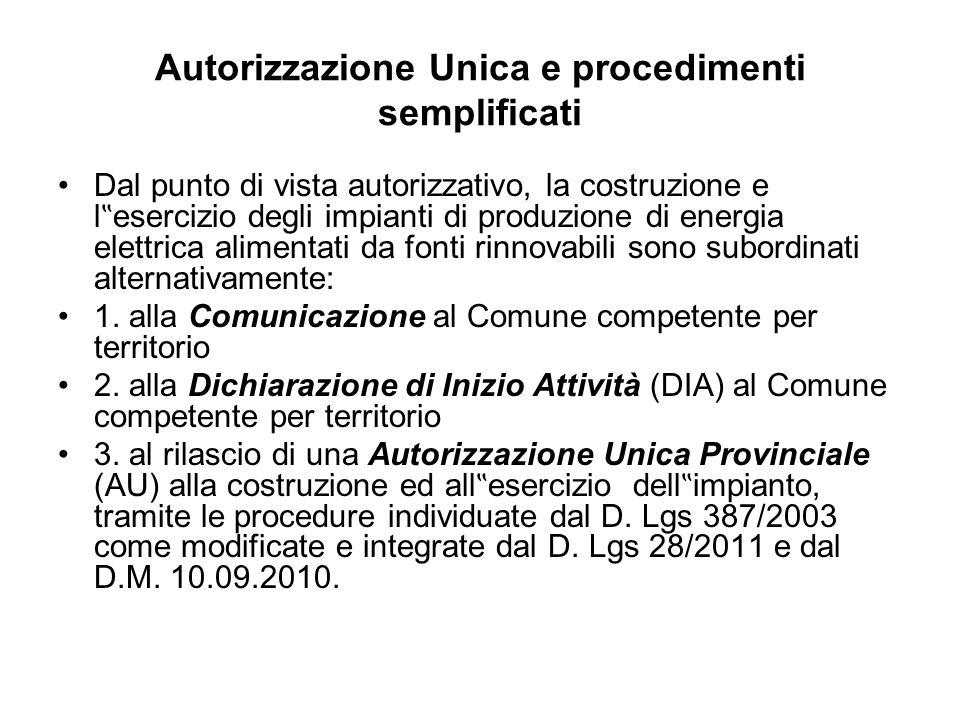 Autorizzazione Unica e procedimenti semplificati