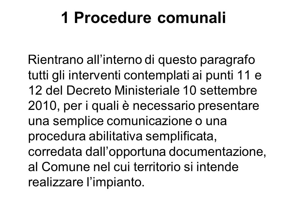 1 Procedure comunali