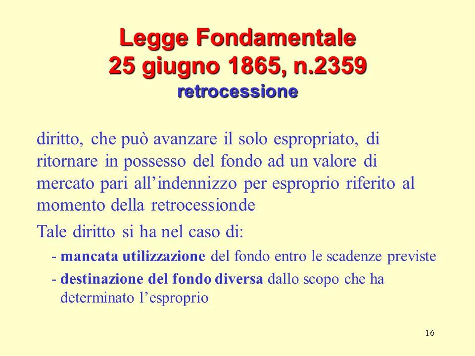 Legge Fondamentale 25 giugno 1865, n.2359 retrocessione