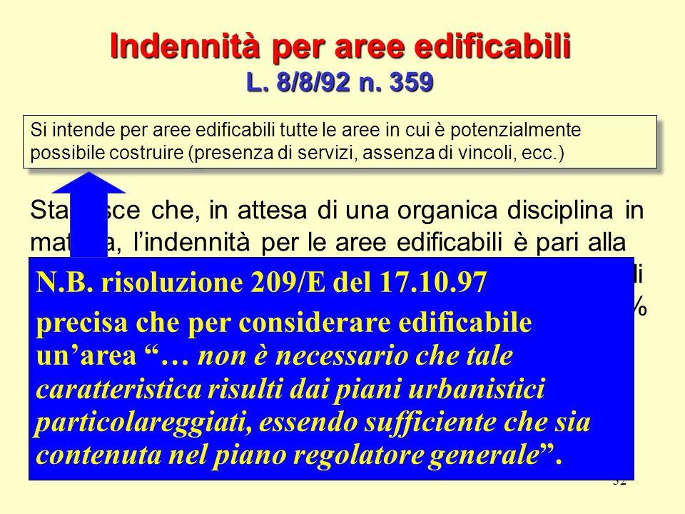 Indennità per aree edificabili L. 8/8/92 n. 359
