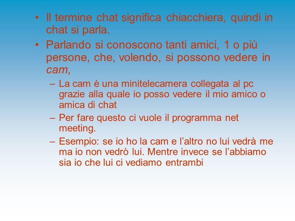 Il termine chat significa chiacchiera, quindi in chat si parla.