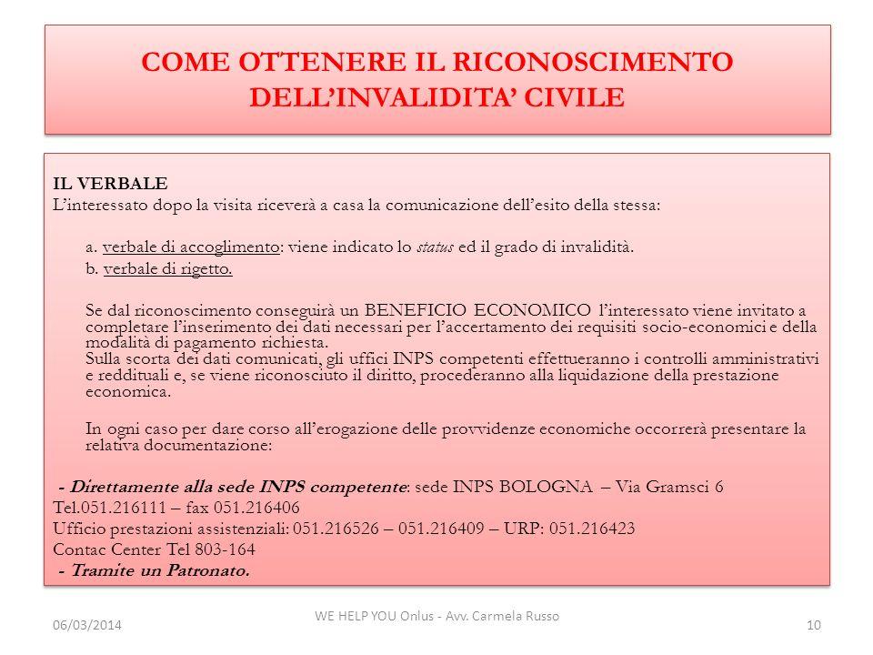 COME OTTENERE IL RICONOSCIMENTO DELL'INVALIDITA' CIVILE