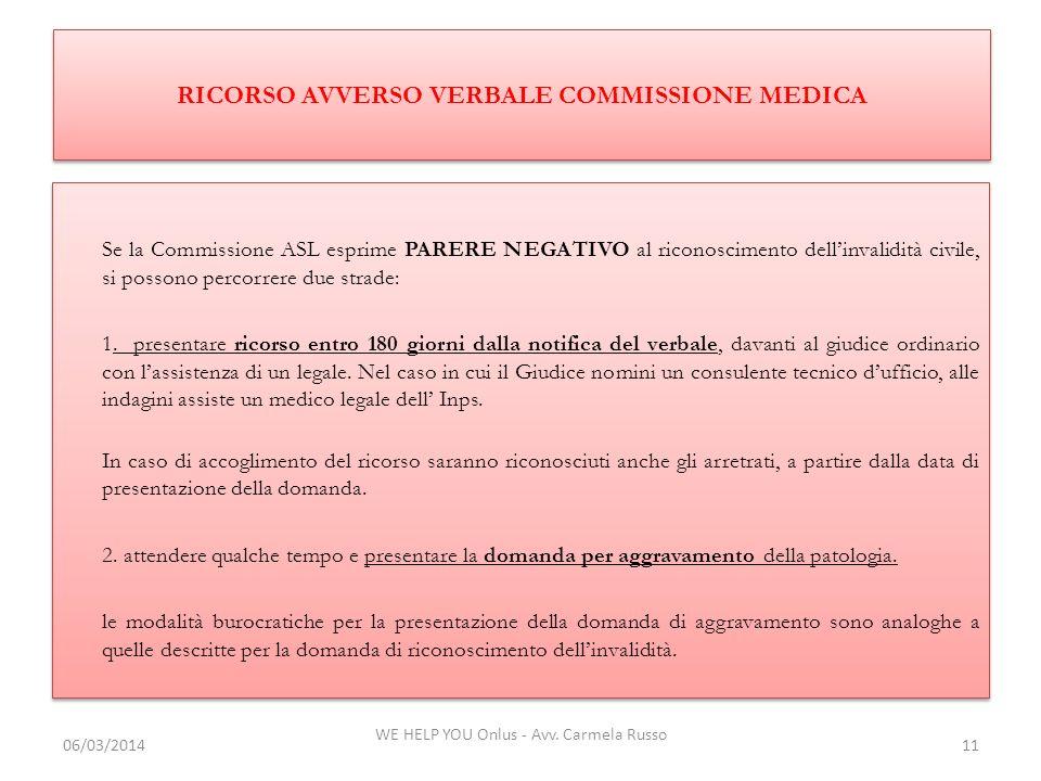RICORSO AVVERSO VERBALE COMMISSIONE MEDICA