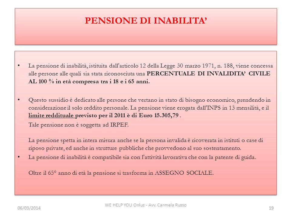 PENSIONE DI INABILITA'