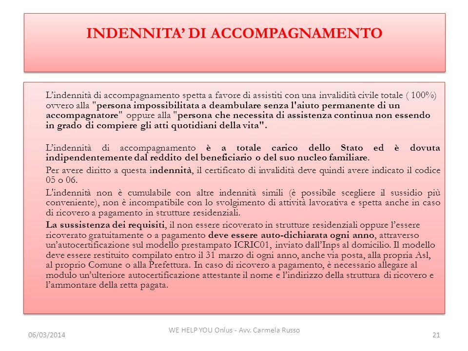 INDENNITA' DI ACCOMPAGNAMENTO
