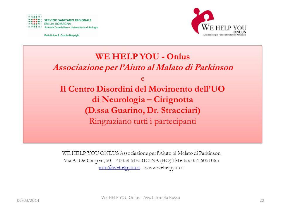 WE HELP YOU - Onlus Associazione per l'Aiuto al Malato di Parkinson e Il Centro Disordini del Movimento dell'UO di Neurologia – Cirignotta (D.ssa Guarino, Dr. Stracciari) Ringraziano tutti i partecipanti
