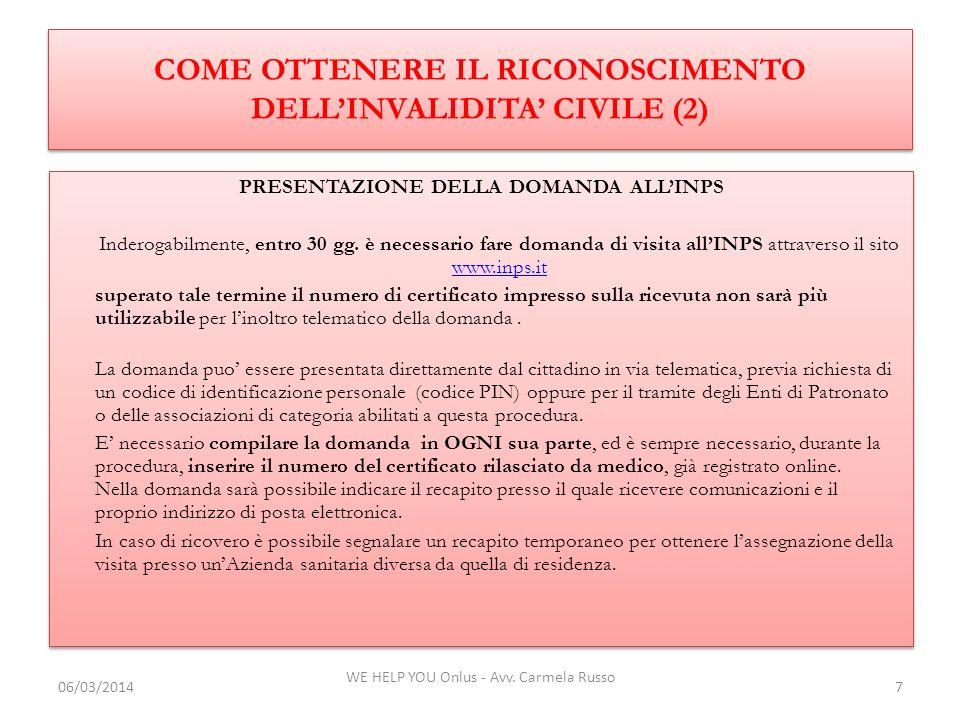 COME OTTENERE IL RICONOSCIMENTO DELL'INVALIDITA' CIVILE (2)