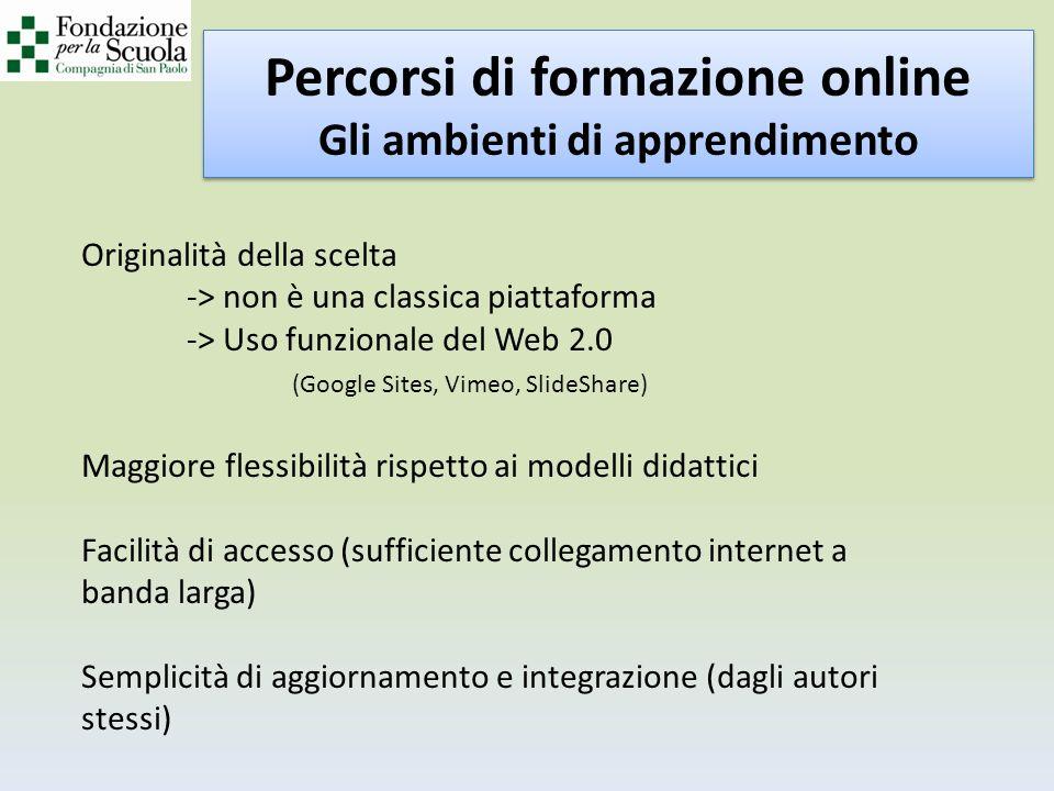 Percorsi di formazione online Gli ambienti di apprendimento