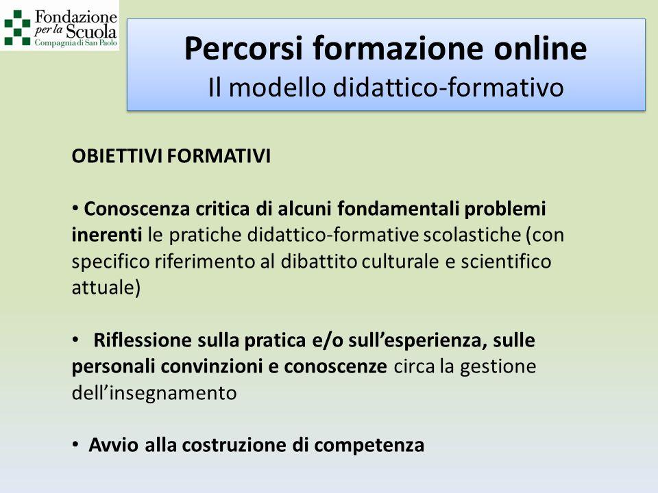 Percorsi formazione online Il modello didattico-formativo