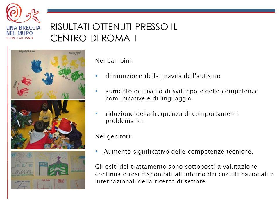 RISULTATI OTTENUTI PRESSO IL CENTRO DI ROMA 1