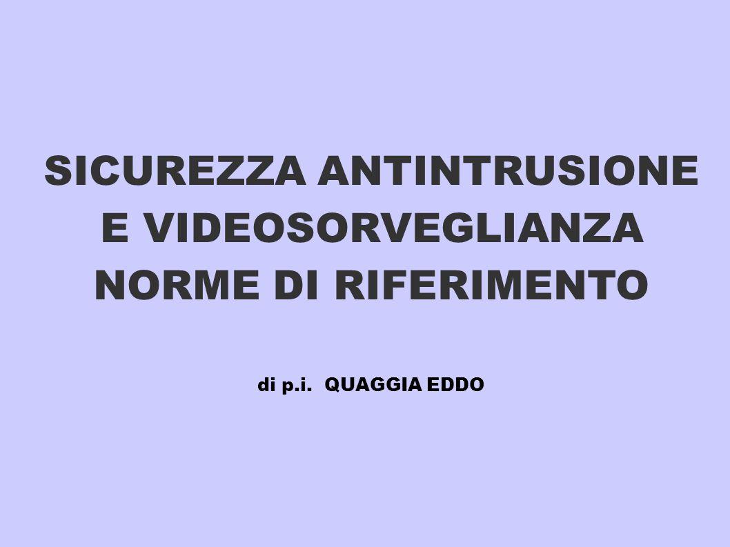SICUREZZA ANTINTRUSIONE E VIDEOSORVEGLIANZA NORME DI RIFERIMENTO di p
