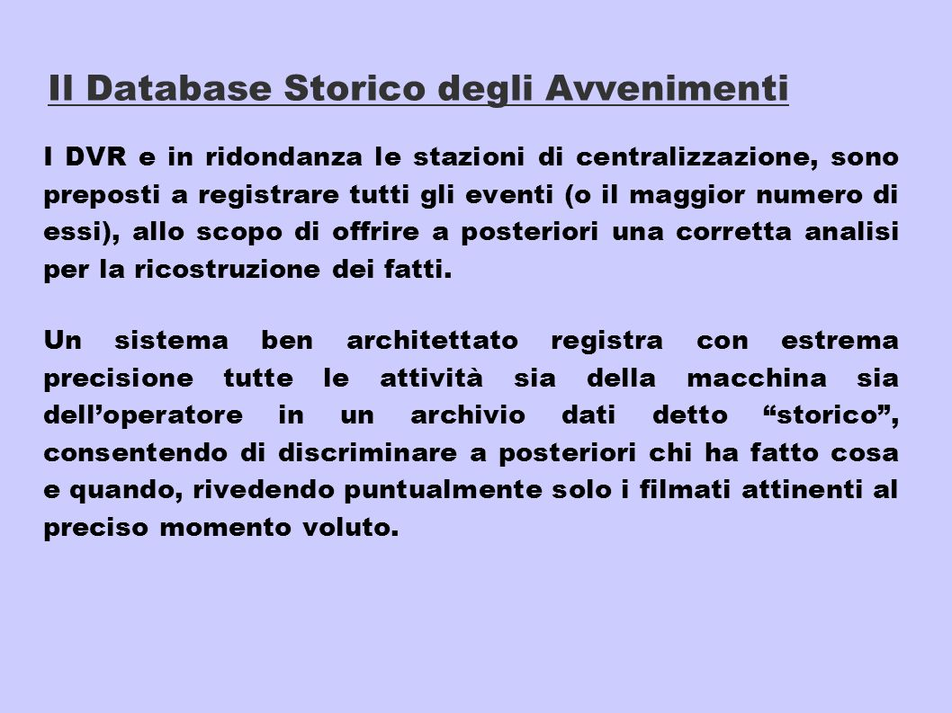 Il Database Storico degli Avvenimenti