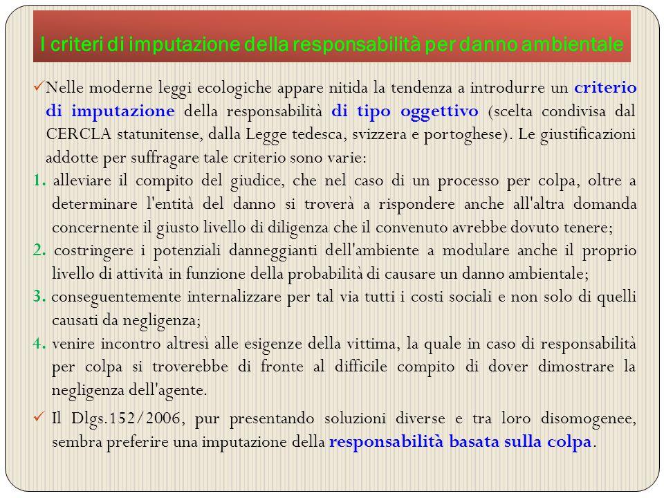 I criteri di imputazione della responsabilità per danno ambientale