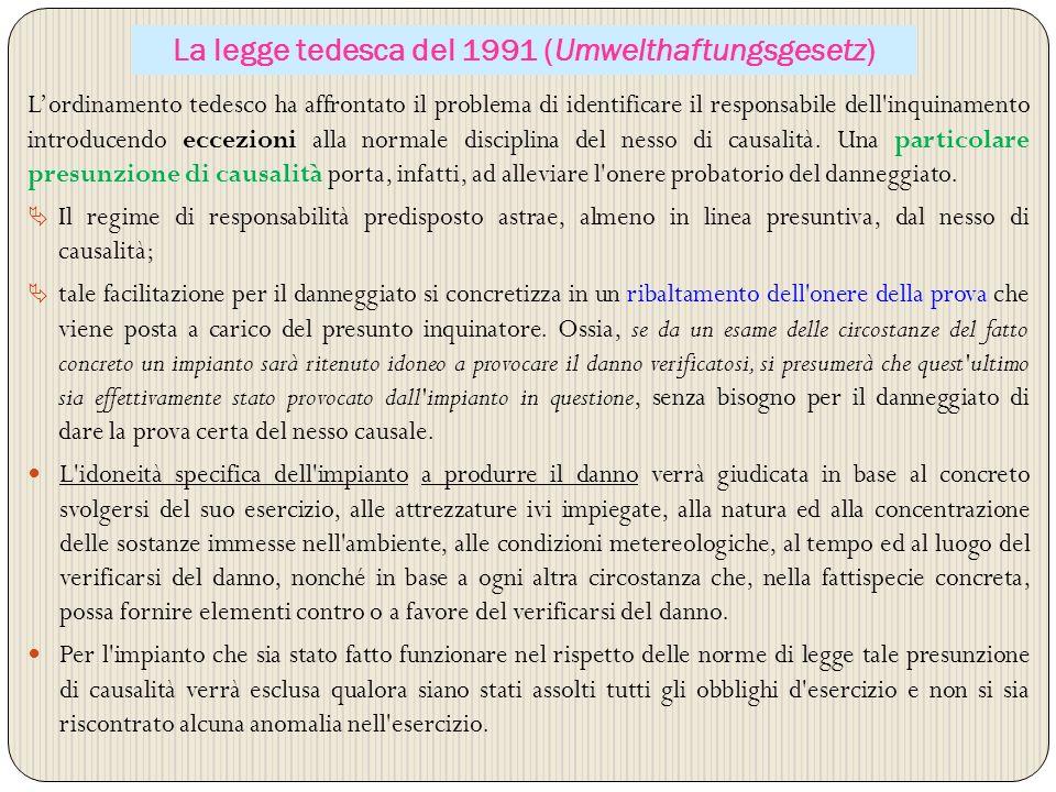 La legge tedesca del 1991 (Umwelthaftungsgesetz)