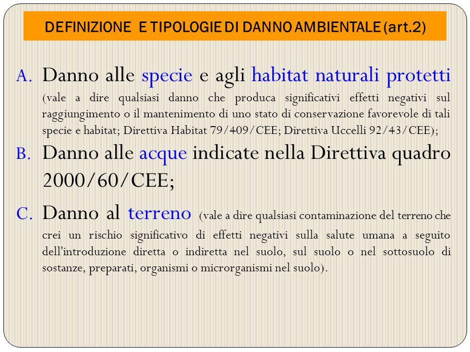 DEFINIZIONE E TIPOLOGIE DI DANNO AMBIENTALE (art.2)