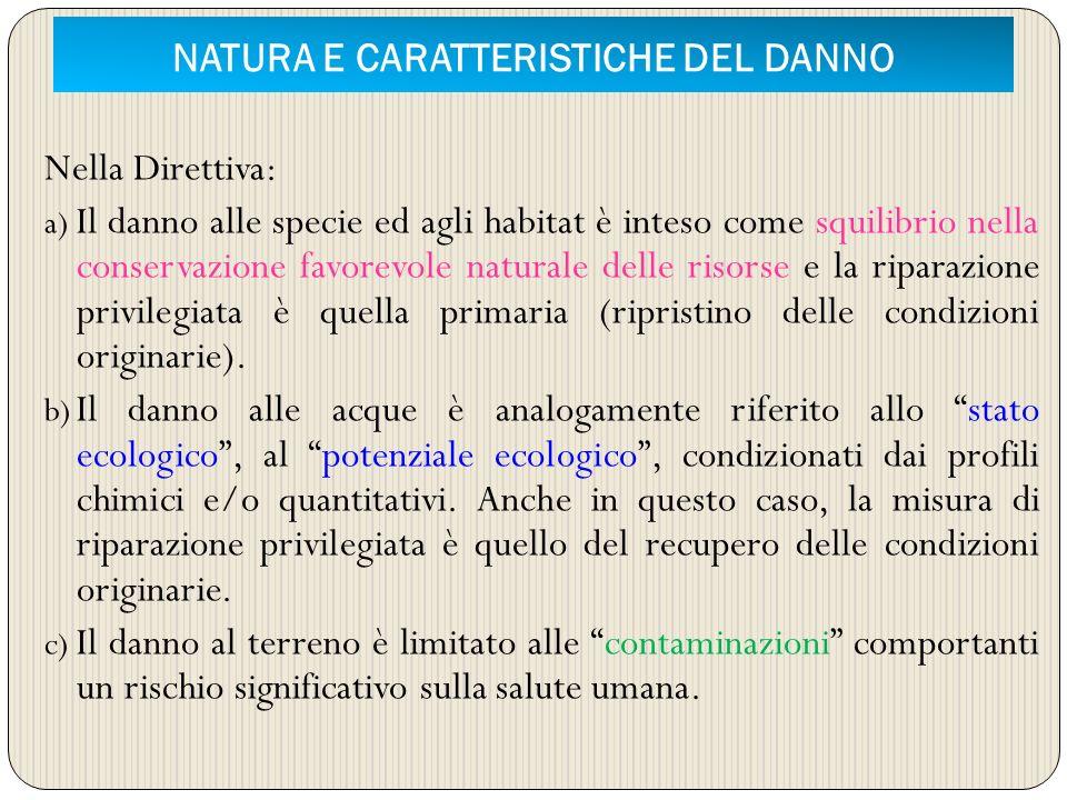 NATURA E CARATTERISTICHE DEL DANNO