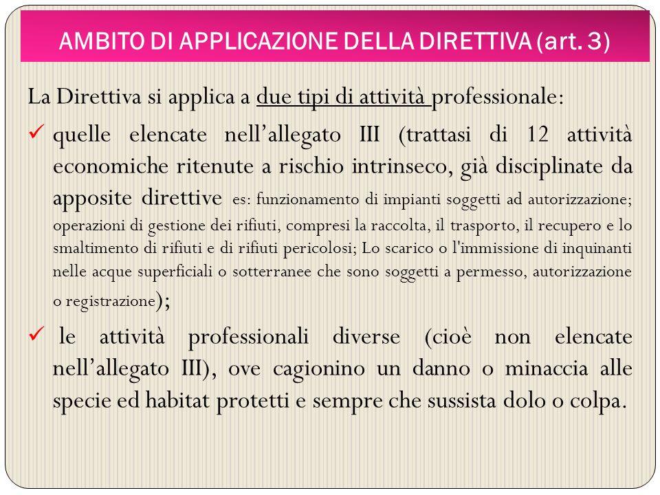 AMBITO DI APPLICAZIONE DELLA DIRETTIVA (art. 3)