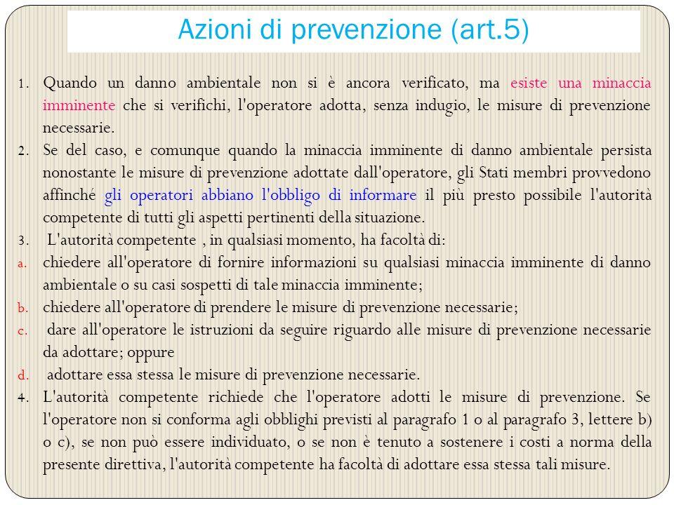 Azioni di prevenzione (art.5)