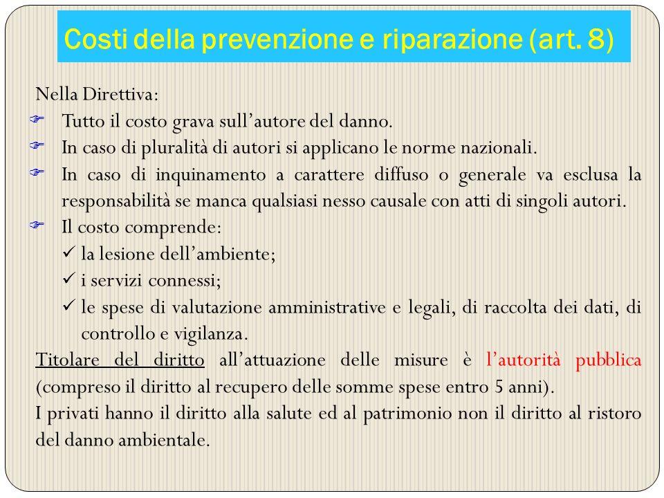 Costi della prevenzione e riparazione (art. 8)