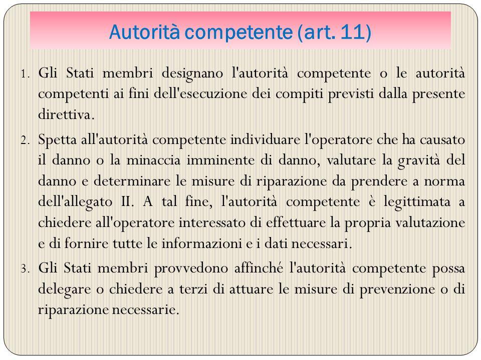 Autorità competente (art. 11)