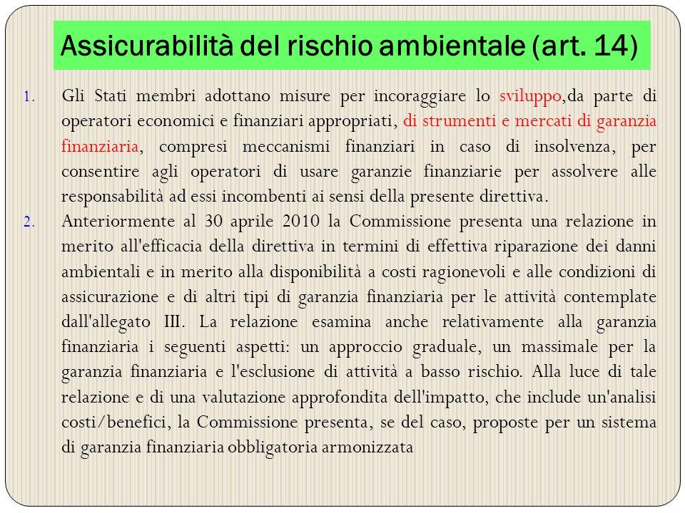 Assicurabilità del rischio ambientale (art. 14)