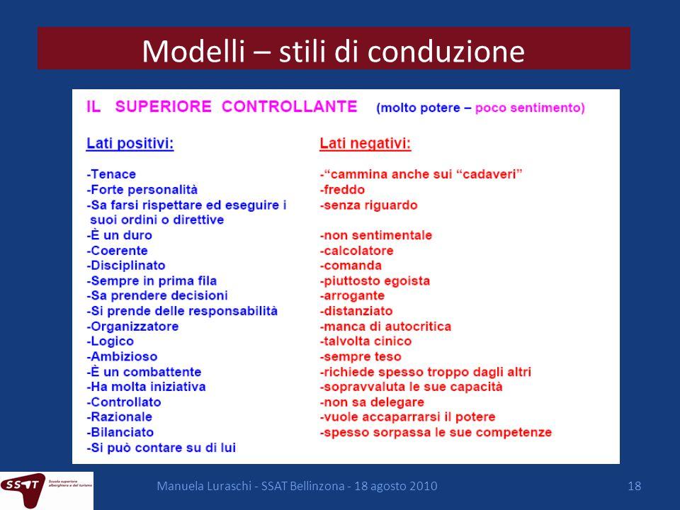 Modelli – stili di conduzione