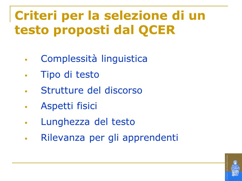 Criteri per la selezione di un testo proposti dal QCER