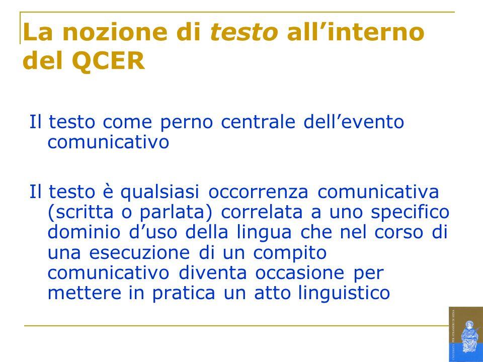 La nozione di testo all'interno del QCER