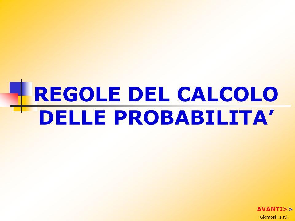 REGOLE DEL CALCOLO DELLE PROBABILITA'