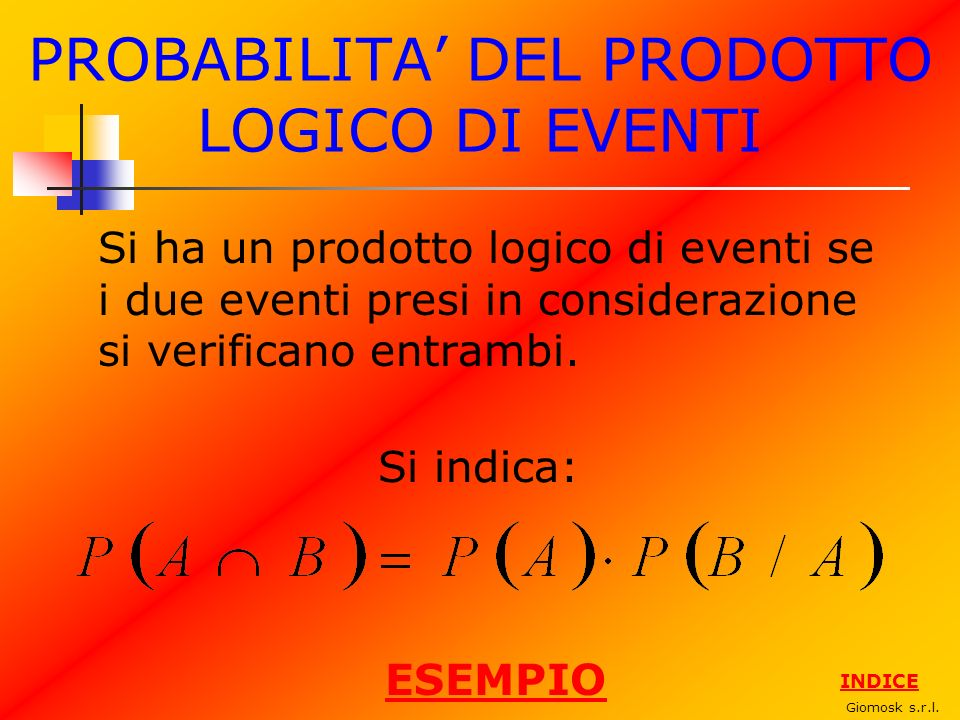 PROBABILITA' DEL PRODOTTO LOGICO DI EVENTI