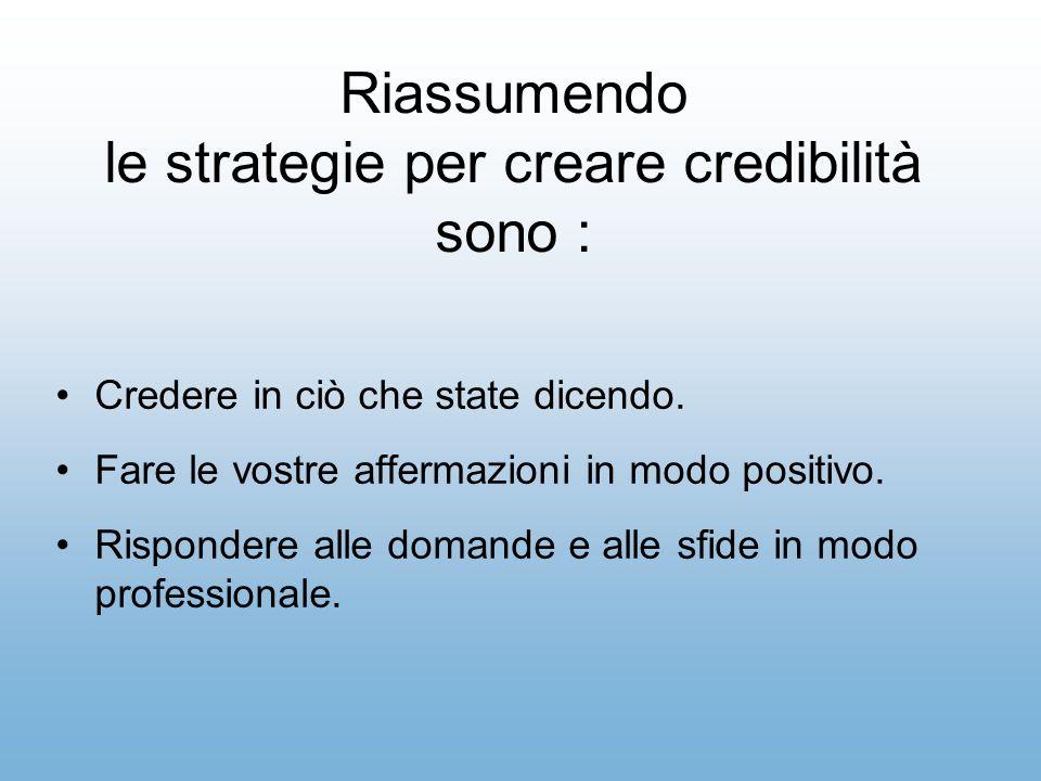 Riassumendo le strategie per creare credibilità sono :