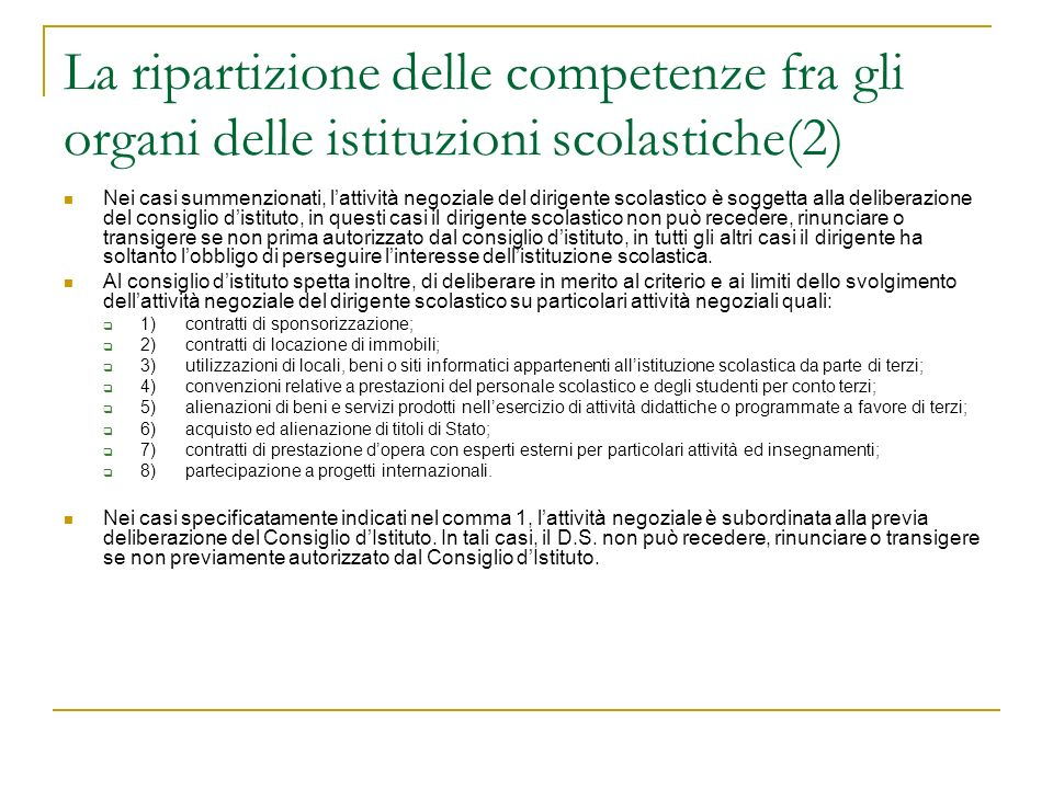 La ripartizione delle competenze fra gli organi delle istituzioni scolastiche(2)